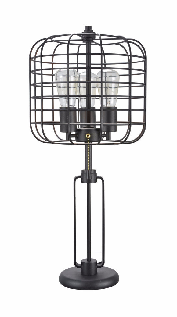 # 40086 Wire Cage Metal Table Lamp, Vintage Design in Sand Black, 26