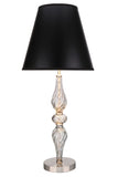 "# 40087-1 29"" High Transitional Metal & Glass Table Lamp, Smoke Color Glass with Black Hardback Empire Shaped Lamp Shade, 13"" W"