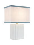 "# 40089, 15 1/4"" High Transitional Ceramic Table Lamp, Ivory Finish with Hardback Rectangle Shaped Lamp Shade in Off White, 10"" + 7"" Wide"