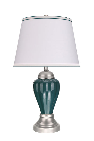 "# 40092 26"" High Traditional Ceramic Table Lamp, Hunter Green, Satin Nickel Base, Off White Hardback Empire Shade, 15"" W"