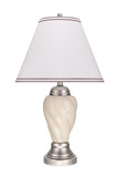 "# 40093-1 26"" High Traditional Ceramic Table Lamp, Ivory with Pewter Finish Base, Off White Hardback Empire Shade, 15"" W"