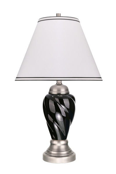 "# 40093-2 26"" High Traditional Ceramic Table Lamp, Black with Pewter Finish Base, Off White Hardback Empire Shade, 15"" W"