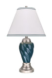 "# 40093-3 26"" High Traditional Ceramic Table Lamp, Hunter Green with Pewter Finish Base, Off White Hardback Empire Shaped Lamp Shade, 15"" W"