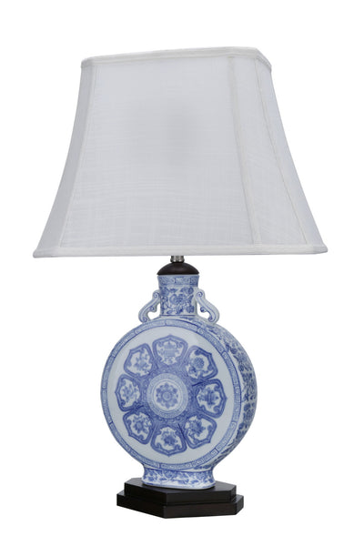 "# 40094, 26"" High Transitional Ceramic Table Lamp, Blue & White Finish with Rectangle Bell Shaped Lamp Shade in Off White, 16"" + 10"" Wide"