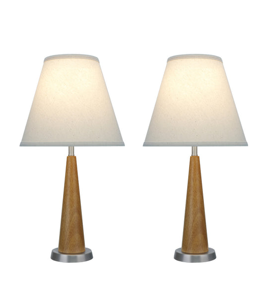 "# 40095, Two Pack Set, 21 1/2"" High Transitional Wooden Table Lamp, Brown Wood with Pewter Finish Base and Hardback Empire Shaped Lamp Shade in Off White, 11"" Wide"