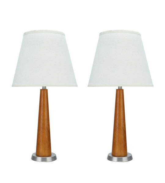 "# 40096, Two Pack Set, 25"" High Transitional Wooden Table Lamp, Brown Wood with Pewter Finish Base and Hardback Empire Shaped Lamp Shade in Off White, 11"" Wide"