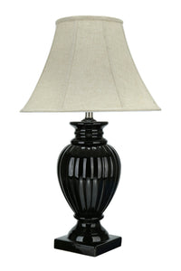 "# 40097, 30"" High Traditional Ceramic Table Lamp, Black Finish with Bell Shaped Lamp Shade in Beige, 18"" Wide"
