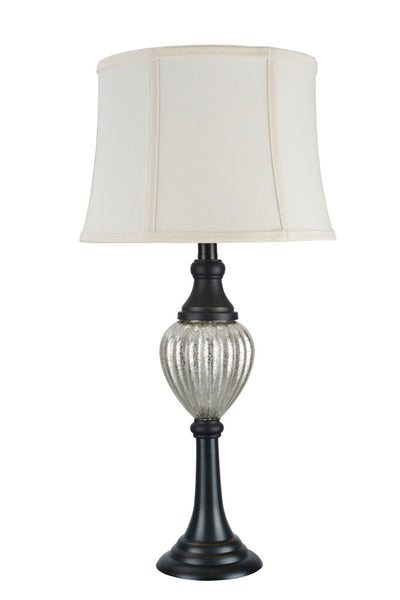 "# 40098 26"" High Transitional Metal Table Lamp, Oil Rubbed Bronze Finish with Bell Shaped Lamp Shade in Off White, 13"" Wide"