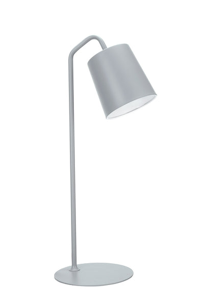 "# 40100-3, 23"" High Modern Metal Desk Lamp, Milky Grey Finish with Metal Lamp Shade, 7 1/2"" wide"