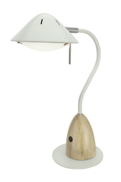 "# 40102-1, Dimmable LED Desk  Lamp, 7W Modern Design in Milky White with Wood Grain Finish, 18 1/2"" High"