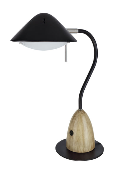"# 40102-2, Dimmable LED Desk  Lamp, 7W Modern Design in Black with Wood Grain Finish, 18 1/2"" High"