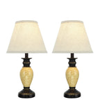 "# 40105, Two Pack Set  – 17 1/4"" High Traditional Poly Table Lamp, Bronze Finish with Marbleized Accent and Hardback Empire Shaped Lamp Shade in Off White, 9 1/2"" Wide"