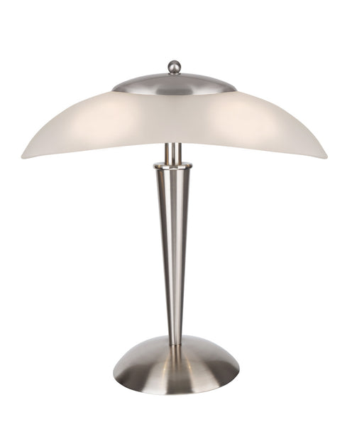 "# 40108-8, 17 3/4"" High Modern Metal Desk Lamp with Touch Sensor, Satin Nickel Finish with Glass Lamp Shade, 16 1/2"" wide"