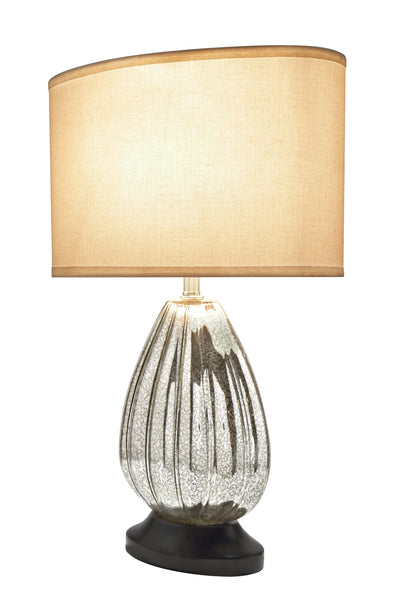 "# 40109, 23"" High Transitional Glass Table Lamp, Antique Crackle Mercury with Walnut Wood Base and Oval Shaped Lamp Shade in Off White, (15""+ 8 1/2"") Wide"