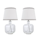 "# 40111-02, Two Pack Set - 21 1/2"" High Modern Glass Table Lamp, Clear Seedy Glass Finish with Empire Shaped Lamp Shade in Off White, 12"" Wide"
