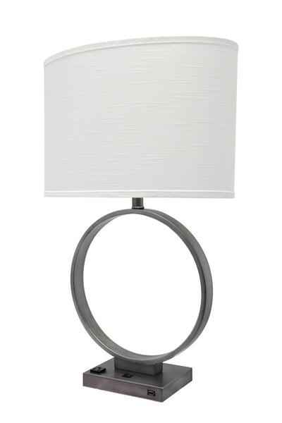 "# 40113, 29 1/2"" High Transitional Metal Table Lamp, Pewter Finish and Oval Shaped Lamp Shade in Off White, (18"" + 10"") Wide"