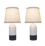 "# 40114-12, Two Pack Set -18 1/2"" High Traditional Ceramic Table Lamp, Off White & Grey and Empire Shaped Lamp Shade in Off White, 10"" Wide"