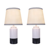 "# 40114-32, Two Pack Set - 18 1/2"" High Traditional Ceramic Table Lamp, Off White & Black and Empire Shaped Lamp Shade in Off White, 10"" Wide"