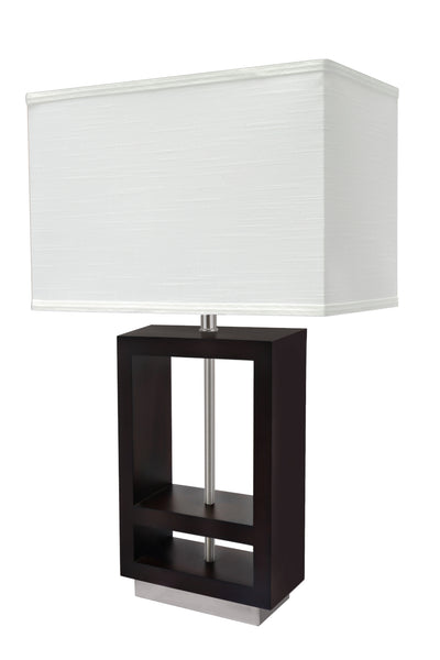 "# 40116, 26 1/2"" High Transitional Wood Table Lamp, Walnut Wood Finish and Rectangle Shaped Lamp Shade in Off White, (16 1/2"" + 9 1/2"") Wide"