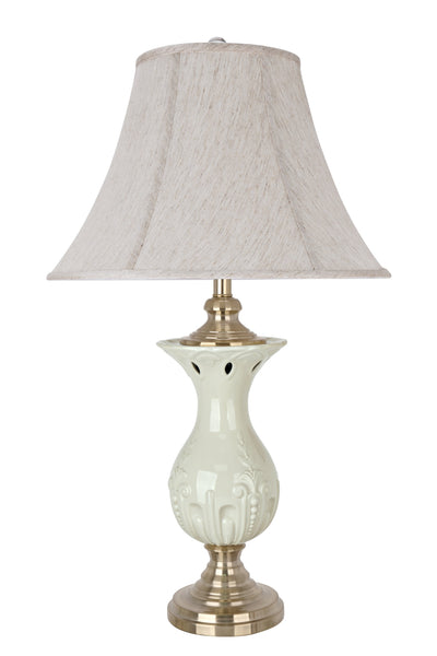 "# 40124, 31 1/2"" High Traditional Porcelain Table Lamp, Ivory with Champagne Gold Finish Base and Bell Shaped Lamp Shade in Off White, 18"" Wide"