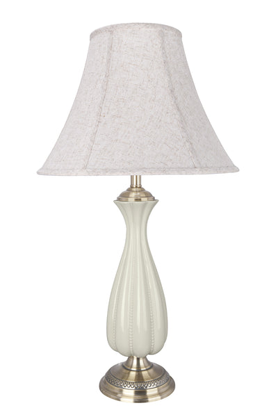 "# 40125, 32"" High Traditional Porcelain Table Lamp, Ivory with Antique Brass Finish Base and Bell Shaped Lamp Shade in Off White, 17"" Wide"