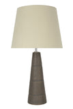 "# 40127, 22"" High Transitional Ceramic Table Lamp, Faux Wooden Grain Finish with Hardback Empire Shaped Lamp Shade in Beige, 12"" Wide"