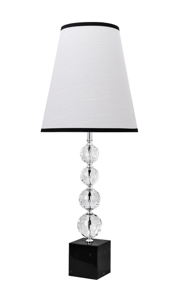 "# 40131, 30 1/2"" High Transitional Crystal Table Lamp, Chrome Finish with Crystal and Hardback Empire Shaped Lamp Shade in White, 12"" Wide"