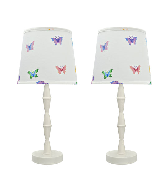 "# 40135-02, Two Pack Set, 19 1/2"" High Transitional Wood Table Lamp, Cream White with Metal Base and Hardback Empire Shaped Lamp Shade in White, 9"" Wide"