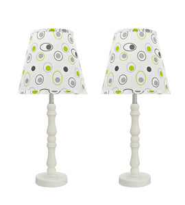 "# 40136-02, Two Pack Set, 19 1/2"" High Transitional Wood Table Lamp, Cream White with Metal Base and Hardback Empire Shaped Lamp Shade in White, 9"" Wide"