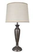 "# 40137-02, Two Pack Set - 26 1/2"" High Transitional Metal Table Lamp, Mushroom Grey Finish with Hardback Empire Shaped Lamp Shade in Off White, 16"" Wide"