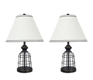 "# 40140-02, Two Pack Set – 22"" High Traditional Metal Wire Table Lamp, Matte Black Finish and Empire Shaped Lamp Shade in Off White, 14"" Wide"