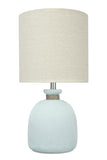 "# 40141, 19 1/2"" High Modern Glass Table Lamp, Pale Blue Glass Finish with Drum Shaped Lamp Shade in Off White, 9 1/2"" Wide"