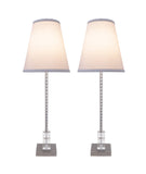 "# 40156-22, Two Pack Set – 30"" High Transitional Metal & Crystal Table Lamp, Pewter Finish and Hardback Empire Shaped Lamp Shade in Off White, 10"" Wide"