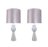 "# 40162-12, Two Pack Set – 38"" High Transitional Metal Table Lamp, Satin Nickel Finish and Drum Shaped Lamp Shade in Silver, 17"" Wide"