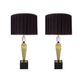 "# 40163-12, Two Pack Set – 38"" High Transitional Metal Table Lamp, Antique Brass Finish and Pleated Drum Shaped Lamp Shade in Black, 17"" Wide"