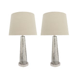"# 40170-12, Two Pack Set – 30"" High Transitional Glass Table Lamp, Satin Nickel Finish and Hardback Empire Shaped Lamp Shade in Beige, 15"" Wide"