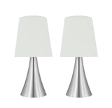 "# 40173-12, Two Pack Set – 12"" High Transitional Metal Accent Table Lamp, Satin Nickel Finish and Empire Shaped Lamp Shade in White, 6"" Wide"