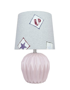 "# 40183-11, 14-1/4"" High Transitional Ceramic Table Lamp, Light Purple and Hardback Empire Shaped Lamp Shade in Light Blue, 8"" Wide"