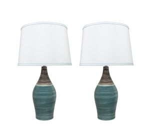 "# 40185-12, 27-1/2"" High Transitional Ceramic Table Lamp, Brown & Blue and Hardback Empire Shaped Lamp Shade in White, 15-1/2"" Wide, 2 Pack"