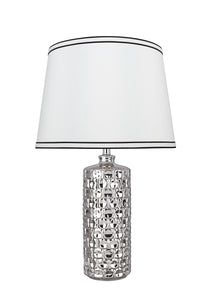 "# 40191-11, 22-1/2"" High Transitional Ceramic Table Lamp, Plated Nickel and Hardback Empire Shaped Lamp Shade in White, 13"" Wide"