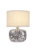 "# 40192-11, 17"" High Transitional Ceramic Table Lamp, Plated Nickel and Hardback Oval Shaped Lamp Shade in Beige, 13"" Wide"