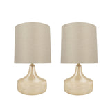 "# 40204-12, Two Pack, 19"" High Transitional Glass Table Lamp, Amber and Hardback Drum Shaped Lamp Shade in Natural, 10"" Wide"