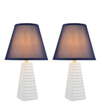"# 40209-12, Two Pack, 18-1/2"" High Transitional Ceramic Table Lamp, Hardback Empire Shaped Lamp Shade in Dark Blue, 11"" Wide"