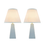 "# 40209-22, Two Pack, 18-1/2"" High Transitional Ceramic Table Lamp, Hardback Empire Shaped Lamp Shade in Off White, 11"" Wide"