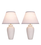 "# 40210-12, Two Pack, 22"" High Transitional Ceramic Table Lamp, Hardback Empire Shaped Lamp Shade in Off White, 14"" Wide"
