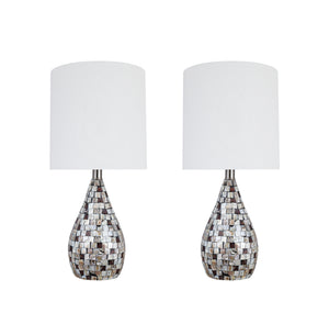 "# 40222-12, 22-1/2"" High Transitional Natural Sea Shell Table Lamp with Drum Lamp Shade, 10"" Wide, 2 Pack"
