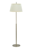 "# 45001 1-Light Metal Floor Lamp, Transitional Design, in Matte Brushed Nickel, Off White Hardback Shade, 62"" H"