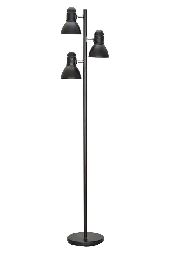 # 45002-1 Three-Light Adjustable Tree Floor Lamp, Modern Design, Metal Lamp Shades in Black Finish, 64