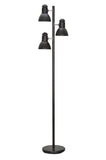 "# 45002-1 Three-Light Adjustable Tree Floor Lamp, Modern Design, Metal Lamp Shades in Black Finish, 64"" High"