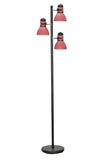 "# 45002-2 Three-Light Adjustable Tree Floor Lamp, Modern Design, Metal Lamp Shades in Black & Burgundy, 64"" High"